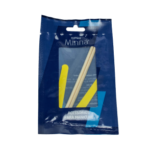 Kit Manicure Minná 2 Mini Lixas Canário + 2 Palitos Pinho 13cm