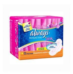 Absorvente Always Pink Com Abas Malha Suave C/8Un