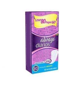 Absorvente Always Protetor Diario Com Perfume Leve 80 Pague 60