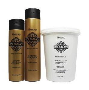 Creme Alisante Amend Gold Black Guanidina 5 Aplicacoes E 10 Retoques