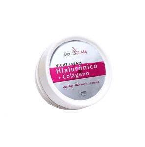 Creme Facial Dermoglam Night Cream Hialuronico Colageno 30gr