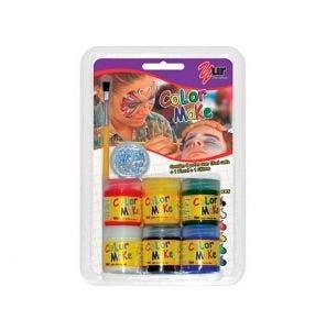 Kit Maquiagem Pintando A Cara C/6 + Pincel + Glitter