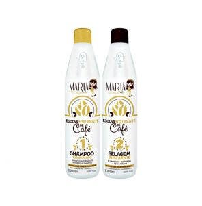 Kit Shampoo Mascara Maria Escandalosa Cafe Passo 1 E Passo 2 Escova Inteligente 1l