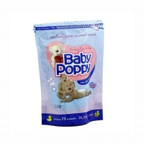 Lenço Umedecido Baby Poppy Embalagem Economica C/ 75Un