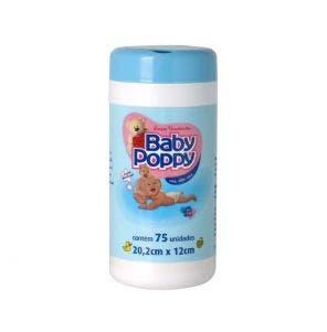 Lenço Umedecido Baby Poppy Pote Azul C/ 75Un
