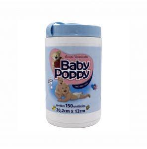 Lenço Umedecido Baby Poppy Pote Jumbo Azul C/ 150Un