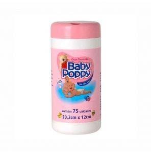 Lenço Umedecido Baby Poppy Pote Rosa C/ 75Un