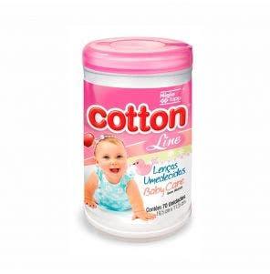 Lenço Umedecido Cotton Line Baby Care Pote Rosa C/ 70Un
