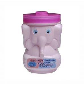 Lenço Umedecido Baby Poppy Elefante Rosa C/ 150Un