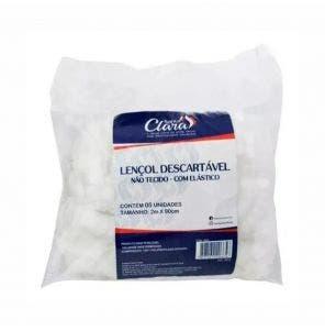 Lencol Descartavel Santa Clara Luxo Branco Sem Elastico 5Un