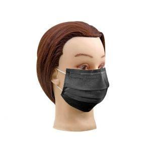 Máscara Descartável Santa Clara Com Elástico Preta C/ 5un