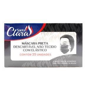 Máscara Descartável Santa Clara Não Tecido C/ Elástico Preta 25un