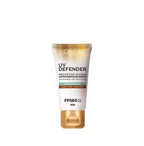Protetor Solar L'oreal Fps60 Facial Uv Defender Cor Escura 40gr