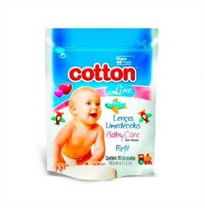 Lenço Umedecido Cotton Line Baby Care Refilun Issex C/ 70Un