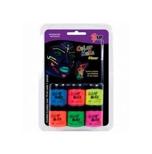 Tinta Facial Pintando A Cara Liquida Fluorescente C/6 Cores E Pincel