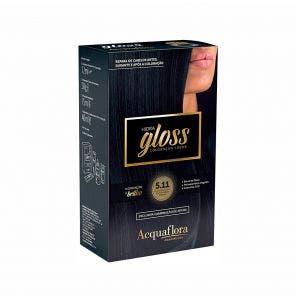 Tintura Acquaflora Kit Hidra Gloss 511 Castanho Claro Acinzentado Intenso