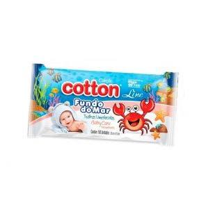 Toalha Umedecida Cotton Line Baby Care Fundo Do Mar - 100 Unidades